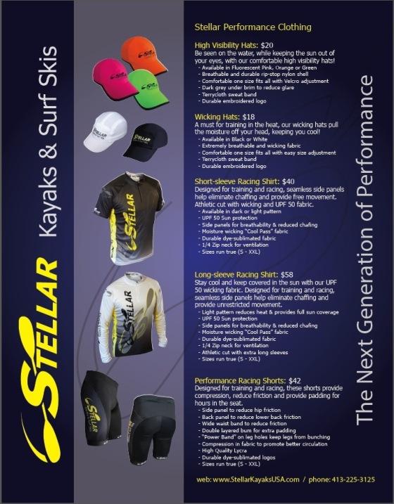 Stellar, kayak racing, surfski, surf ski, paddling, racing, clothing, sun shirt, sports gear, caps, paddle shorts, paddle shirts, shorts