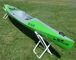 Stellar, 16 feet, sit on top, surf ski, cockpit, easy to enter, reentry, S16S, light weight, green, gray, sale, hatch, riggings, overstern, rudder, kayaking, paddling
