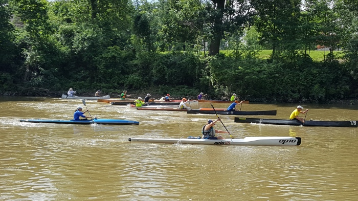 St. Joe River, Three Rivers Fest, Fort Wayne, Indiana, USCA, paddling, paddlers, racing, canoe, kayak, race, United States Canoe Association, Steve Horney, river, flat water