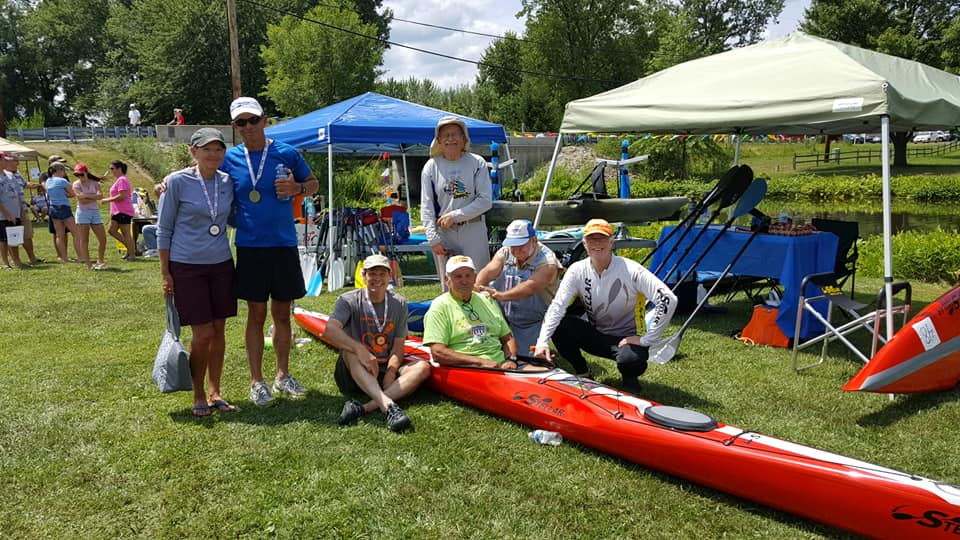 Indiana, USCA, paddlers, race, Lions Paws for Support, Fish Lake Race, Fish Lake Festival, Stellar, S18R, sea kayak, red, club, competition, race day
