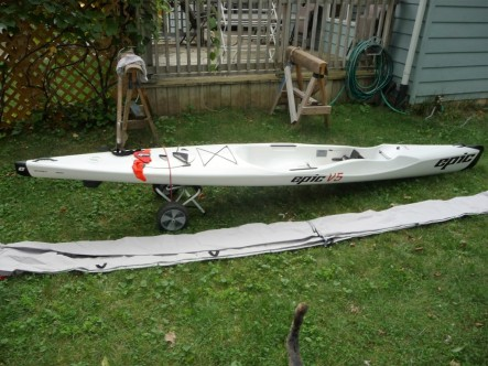 Epic, V5, Performance, Kayak, used, sale, white, kayak, surf ski, cover, Midwest, Michigan, Indiana, Illinois, Ohio, rudders, kevlar
