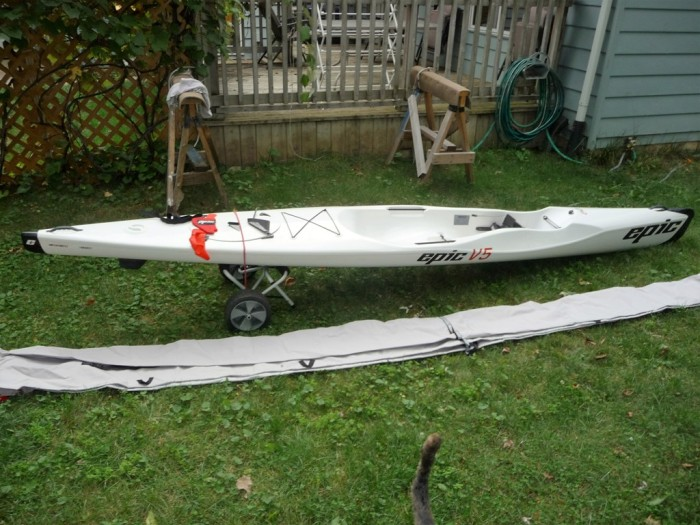 Epic, V5, Performance, Kayak, used, sale, white, kayak, surf ski, cover, Midwest, Michigan, Indiana, Illinois, Ohio, rudders, kevlar