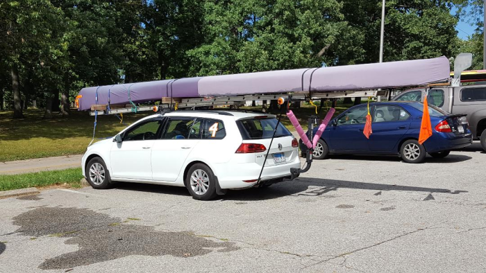C4, canoe, 4, four, man, racing, USCA, Indiana, South Bend, St. Joe River, v bars, car topper