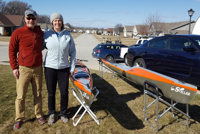 couple, paddling, his and hers, kayak, Stellar, Ohio, Indiana, Michigan, Illinois, dealer, light weight, easy to lift, load, surf ski, sit on top